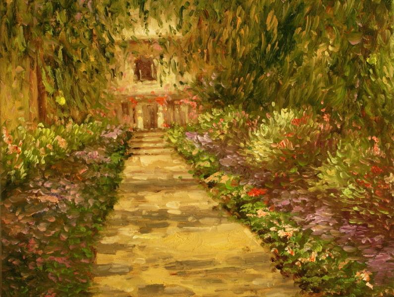 Cuadros famosos cuadros de monet un camino en el jardin for Cuadros para el jardin