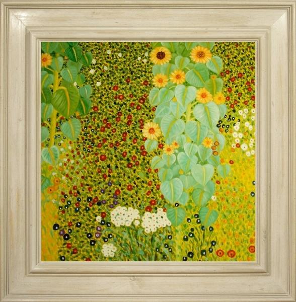 Cuadros famosos, Cuadros de Klimt con marco blanco, Jardin con girasoles