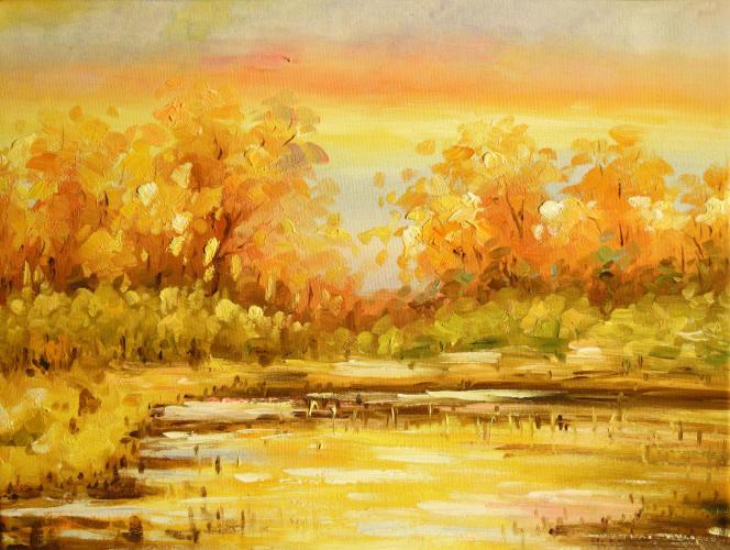 Cuadros modernos cuadros paisajes bosques rios lagos - Cuadros de atardeceres ...