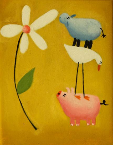 Cuadros modernos cuadros infantiles a por la flor - Cuadros para habitaciones infantiles ...
