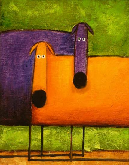 Cuadros modernos cuadros infantiles perritos de colores - Cuadros de colores ...
