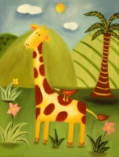 Cuadros modernos, cuadros infantiles, Jirafa en la selva