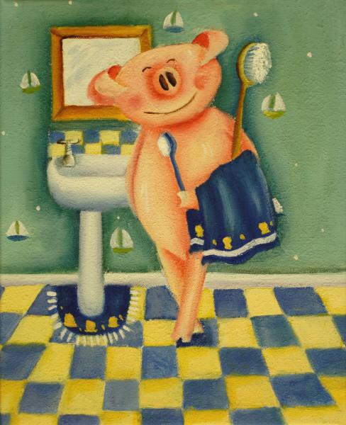 Cuadros modernos cuadros infantiles la hora del ba o - Cuadros de cuarto de bano ...
