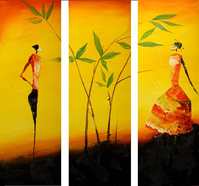 Pinturas al oleo etnicas imagui for Imagenes de cuadros modernos