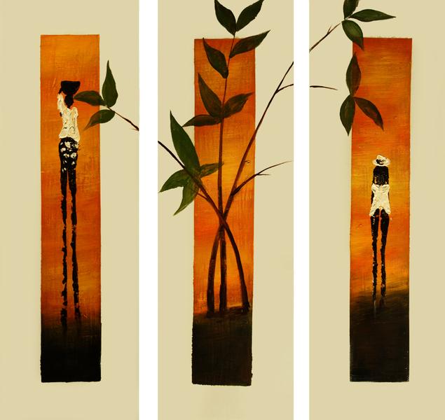 Cuadros modernos cuadros etnicos ii triptico etnico for Imagenes de cuadros abstractos tripticos