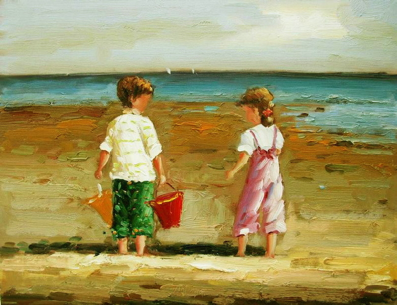 Cuadros modernos cuadros marinas xxiii coleccion ni os - Cuadros hechos con piedras de playa ...