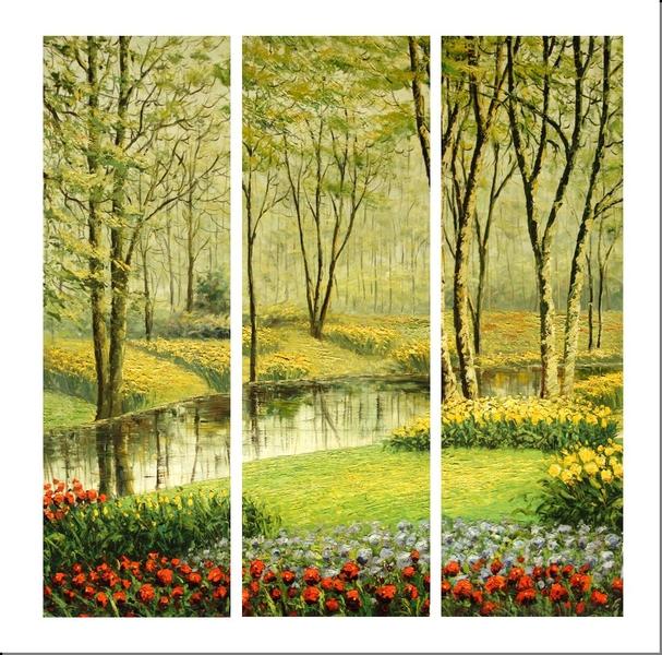 Cuadros modernos abstractos tripticos bosque primavera for Imagenes de cuadros abstractos tripticos