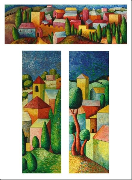 Cuadros abstractos cuadros modernos tripticos aldea - Cuadros de colores ...