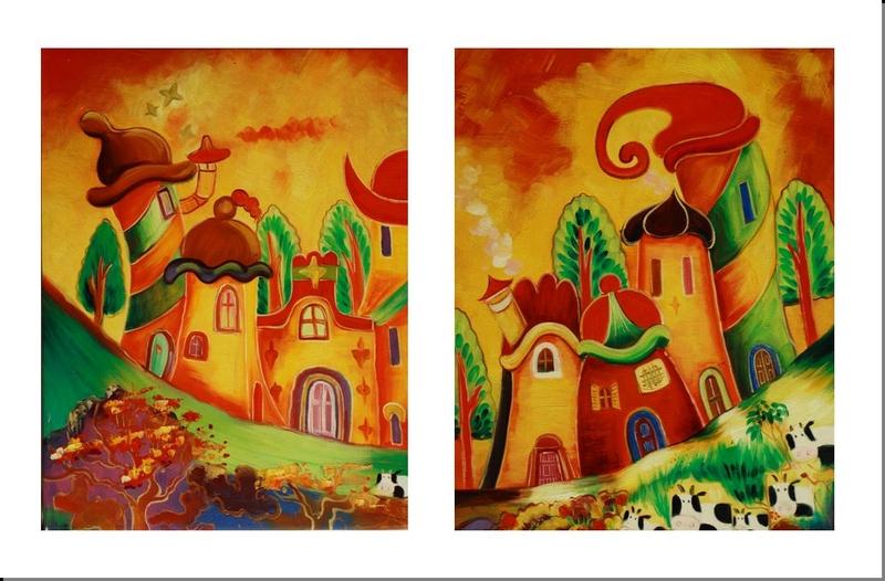 Cuadros abstractos tripticos dipticos flores modernas for Cuadros tripticos online