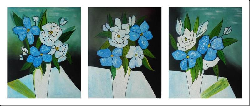 Cuadros modernos tripticos flores azules blancas jarron - Triptico cuadros modernos ...