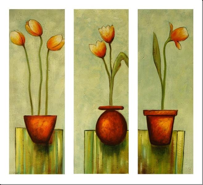 Cuadros modernos tripticos con flores imagui - Triptico cuadros modernos ...