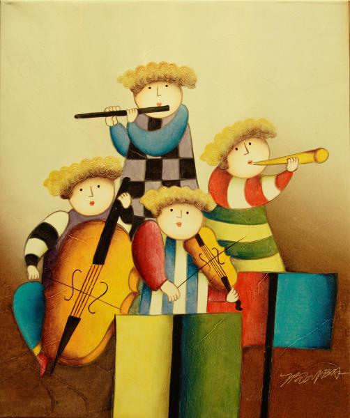 Cuadros modernos cuadros infantiles mi orquesta for Cuadros infantiles al oleo